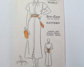 "Antique 1930's Woman's World Dress Pattern #6010 - size 34"" Bust"
