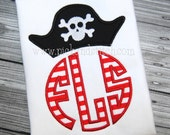 Arrrg, Matey Pirate Monogram Shirt - Personalized Shirt - Custom Embroidery  - Appliqué - 12 months  2t  3t 4t 5t