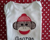 Applique Sock Monkey Shirt by Rockin' the Tutu - Personalized Embroidery