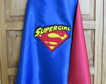 Supergirl Cape /  Super Hero Cape / Childrens Cape / Girls Super Hero Cape /  Reversible Cape