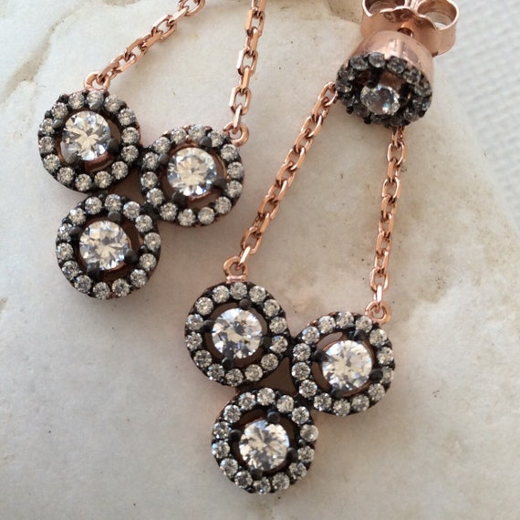 antique  inspired earring sterling cz zirconia rose gold sparkly bridal jewel jewelry