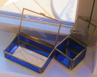 Brass Etches Glass Boxs  Colbalt Blue Glass Reliquary Boxs Oblong and Square mirrored bottoms