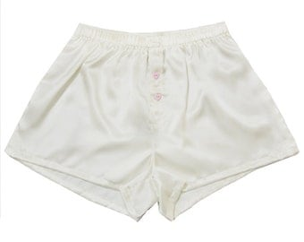 La Lilouche LUX White Silk satin with light PinkHeart buttons men Boxers, Silk boxer short