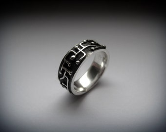 Printed-Circuit Sterling Silver Ring, Silver Jewelry, Gift for Her, Gift for Him