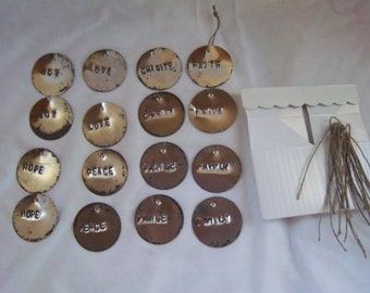 Handmade Rustic Metal Stamp Tin Adornment Package Ornament Set / Gift