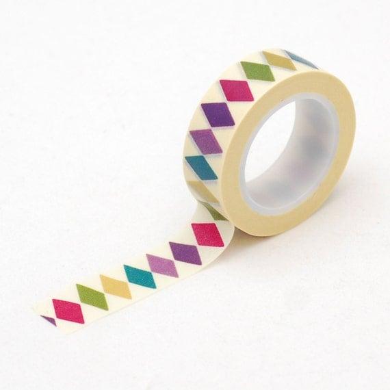 colorful diamond Washi tape - Diamond Pattern masking tape - Love My Tapes