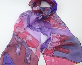 Purple and Claret Geometric design hand painted silk scarf