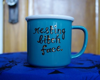 """Teal Retro Style Coffee Mug with Quote """"Resting bitch face"""""""