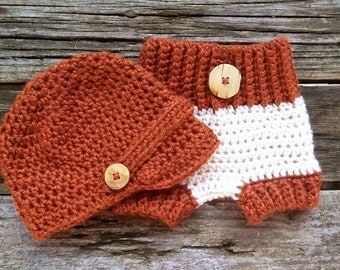 Baby Newsboy Crochet Hat and Diaper Cover in Cream, Rust,  Baby Hat, Newborn Diaper Cover, Newborn Crochet Hat *** Ready to Ship***