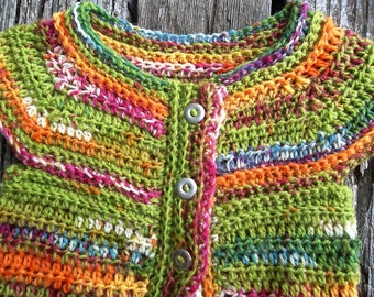 Spring Summer Baby Girl Crochet Sweater, 6-12 Month Baby Girl Sweater, Crochet Baby Sweater, Guacamole Green Multi Colored Baby Sweater