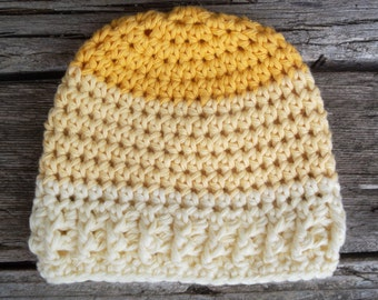 Cotton Newborn Hat, Crochet Baby Hat, Baby Hat, Infant Hat, Baby Beanie, Boy, Girl,  Natural Fiber, Yellow Multi-Colored Crochet Infant Hat