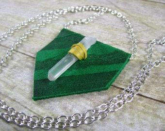 Leather Jewelry - Crystal Stone Necklace - Leather Necklace - Green Leather - Triangle Pendant - Long Necklace