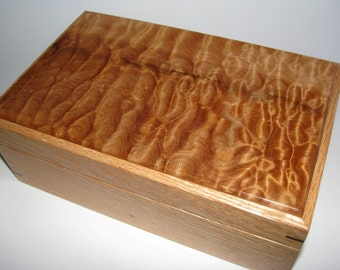 "Quilted Maple and Oak Keepsake Box. 9.25"" x 5.75"" x 3.5""."