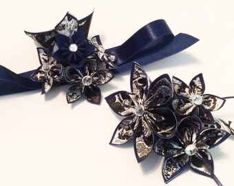 Date Night- Comic Book Corsage & Boutonniere set, prom, homecoming, wedding accessory, handmade, one of a kind paper flowers