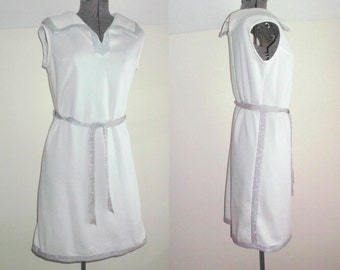 vintage 1970's dress white metallic silver tinsel trim accent wide collar sleeveless