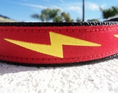 """Dog Collar Red Lightning Bolt 1"""" width adjustable side release buckle - martingale style is cost upgrade - see 3/4"""" Black Bolt collar"""