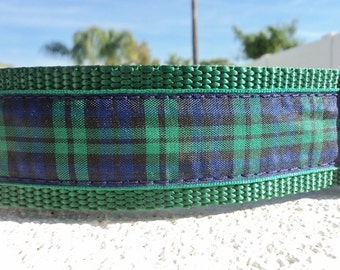"Large Martingale Collar or Quick Release buckle dog collar Blackwatch Tartan 1.5"" wide adjustable - see 1"" width link - see detailed sizing"