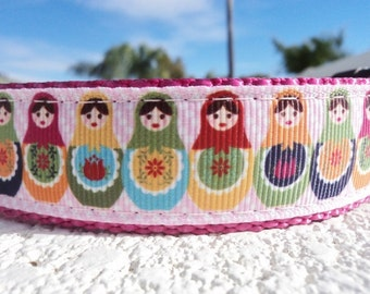 """Sale Girl Dog Collar Russian Nesting Dolls 1"""" wide Quick Release or  Martingale collar style adjustable"""
