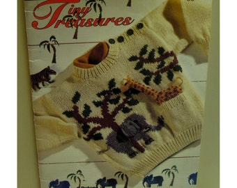 Childrens Sweaters with Toys Knitting Pattern, Sailboat, Elephant, Cat,  Safari Animals, Patons 697 Tiny Treasures Sizes 18mo, 2 4 6