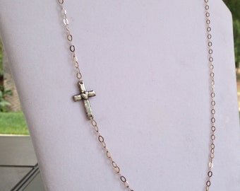Sideways Cross Necklace Long Silver Chain Sterling Silver Cross with Heart