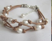 Leather Pearl 3 Strand Knotted Freshwater Pearl Adjustable Bracelet Choose Your Color Leather