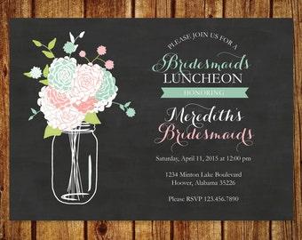 Chalkboard & Mason Jar Bridesmaids Luncheon Invitation