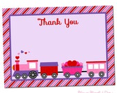 PRINTABLE Valentine's Train Party (Girl) Thank You Cards