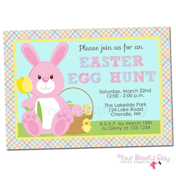PRINTABLE Easter Bunny Egg Hunt Party Invitations (Character of your choice) #411