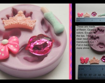 Crown bow Lips Silicone Mold Fondant Resin Polymer Clay Mold