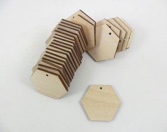 """Wood Hexagon Earring Pendant Blanks Laser Cut Jewelry Shapes 1 1/2"""" x 1 3/4"""" x 1/8"""" - 1 Hole - 25 Pieces"""
