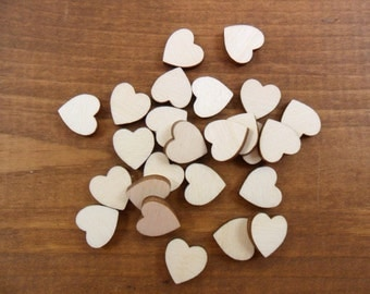 "50 Wood Hearts 1/2"" Unfinished Laser Cut Wood Heart"