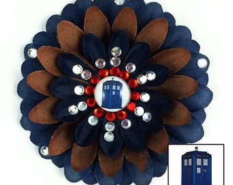 Doctor Who TARDIS Navy and Brown Penny Blossom Rhinestone Flower Barrette