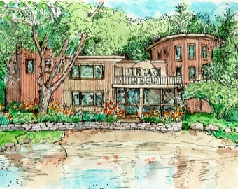 House Portraits in Pen/Ink and Watercolor, custom original portraits of houses,summer homes,vacation sites from your photos