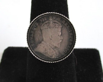 Canada Dime Ring - Vintage Canadian Coin, Adjustable Size - 925 Silver
