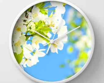 Art Wall Clock Bright Blooms fine art photography home decor