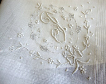Vintage Monogrammed F Madeira Wedding Hankie Beautiful!