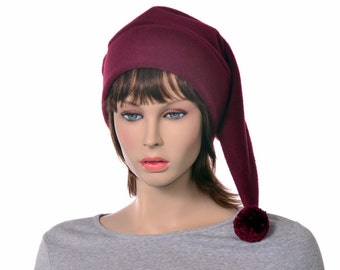 Burgundy Pointed Hat Pompom Stocking Cap Long Beanie Maroon Adult Mens Womens Hat