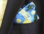 Vincent Van Gogh Starry Night Print Cotton Pocket Square With Hand-Rolled Hem