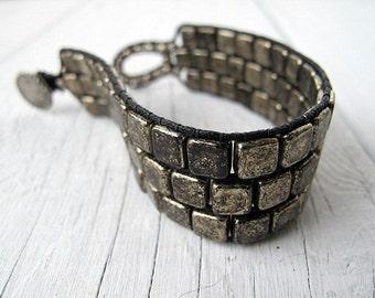 Bohemian Cuff, Beaded Wristband, Tarnished Silver Czech Glass Bracelet, Bohemian Bijoux,  Festival Fashion Boho Chic, Rustic Elegance