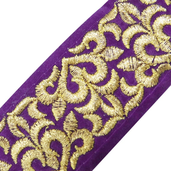 Purple golden embroidered trim sewing accessories velvet