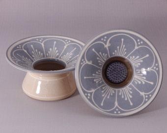 Stoneware Ikebana Vase  Pin Vase Wedding centerpiece NEW white scallops on Blue Grey