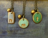 Personalized Jewelry - Dainty Initial Pendant - Shades of green and gold