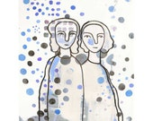 Watercolor art blue white Fine art print -Mother daughter, sisters - gift for her
