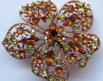 Vintage Large Dimensional Brooch Amber and Green Rhinestones