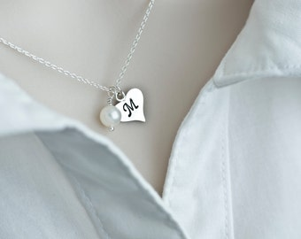 Initial Necklace, Initial Heart Necklace, Sterling Silver Initial Heart Necklace, Monogram Charm, Custom Initial Necklace, Personalized Gift