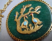 Vintage Jade Pendant Necklace Large with Lucky Word Birds animals with faux opal ruby stones big 2.5 inches Lucky Good Luck Chinese New year