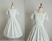 50's Floral Dress // Vintage 1950's Floral Print Cotton Summer Garden Party Dress XS