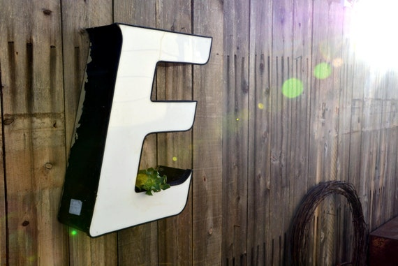 Vintage Marquee Sign Letter Capital 'E' in Italic Font: Large Black & White Wall Hanging Initial -- Industrial Neon Channel Advertising