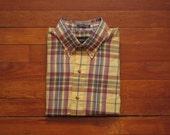 mens vintage gant fox hunt plaid button down shirt