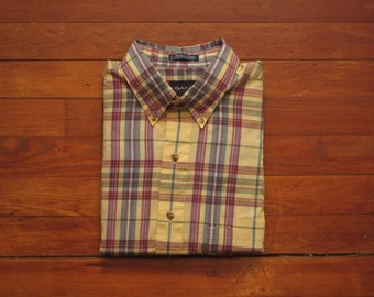 mens vintage Gant fox hunt plaid button down shirt
